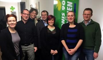 Der Vorstand von links nach rechts: Katja Dörner, Jonas Paul, Lisa Anschütz, Oliver Krischer, Anna Stenz, Katharina Dröge, Maik Außendorf